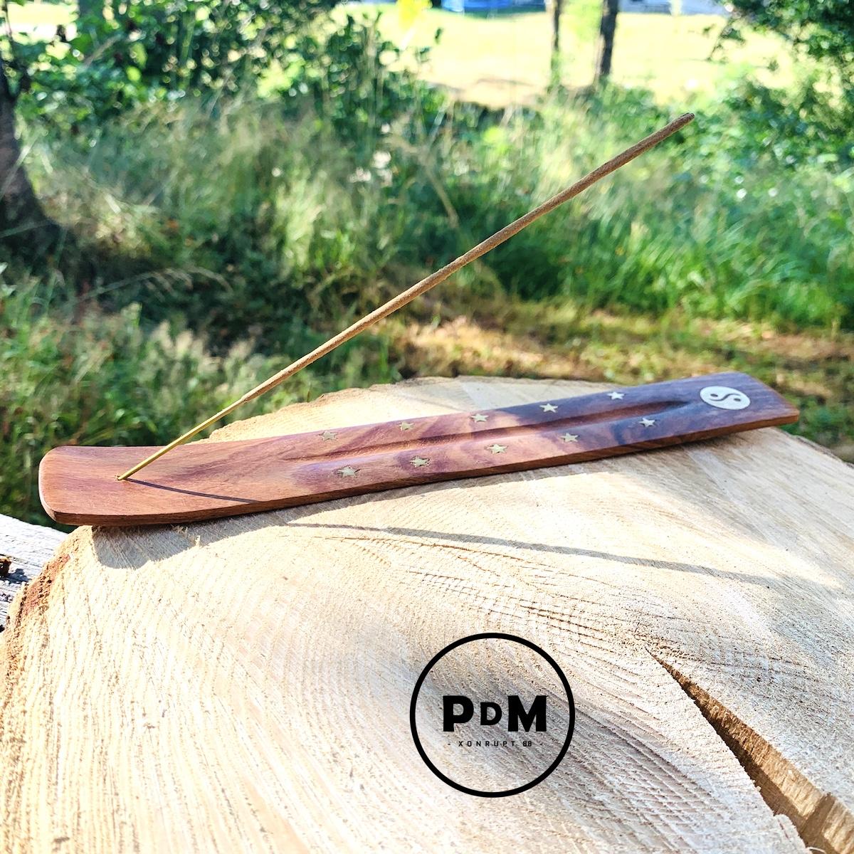 Porte-encens plat simple en bois Longueur 26 cm