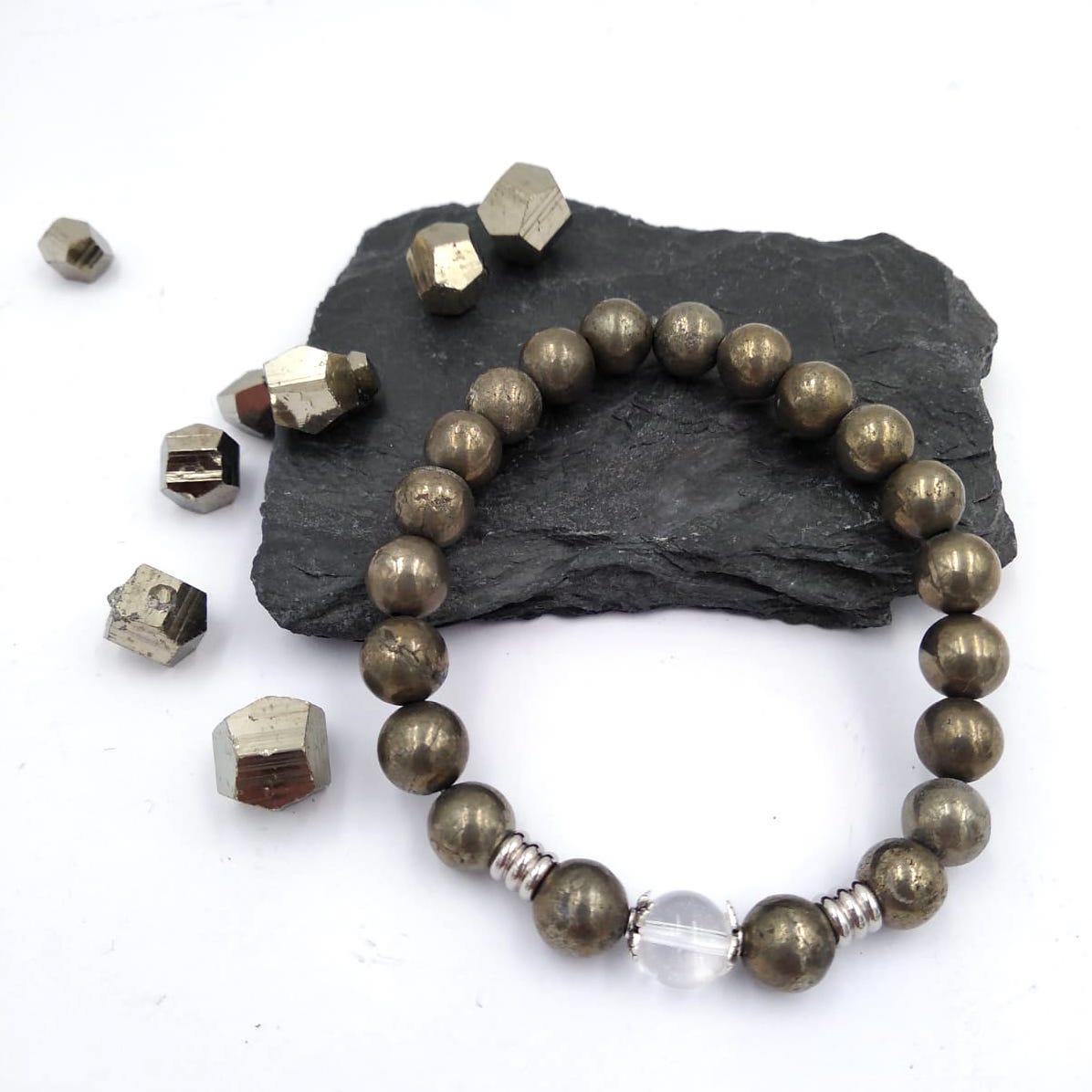 Bracelet boule de 8mm en pierre naturelle en PYRITE DE FER