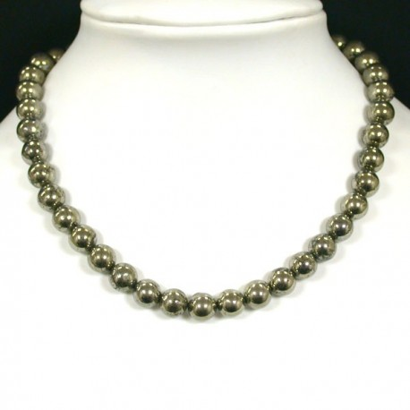 collier boule 8mm en pierre naturelle de PYRITE DE FER