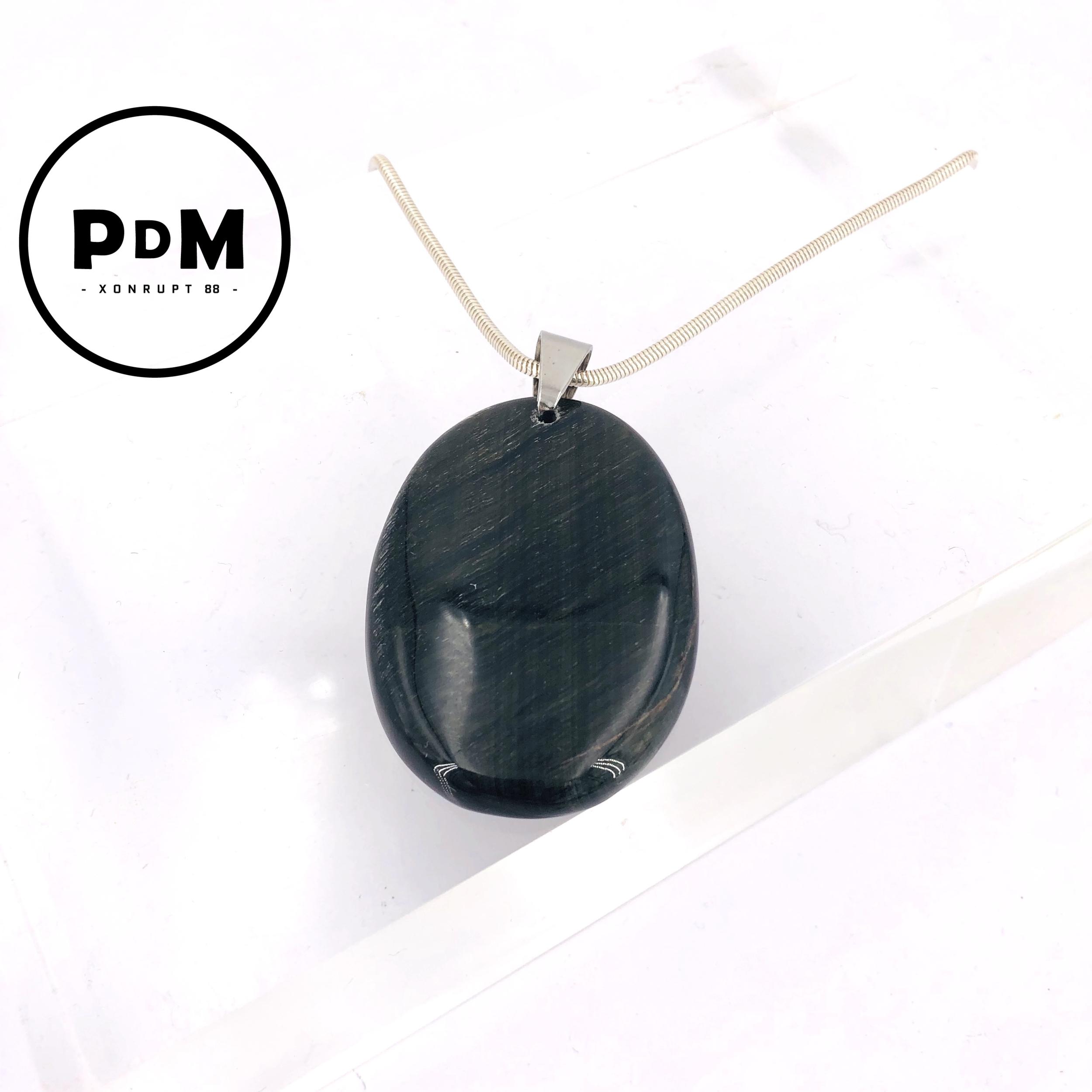 Collier argent avec montage de pierre naturelle d\'OEIL DE FAUCON