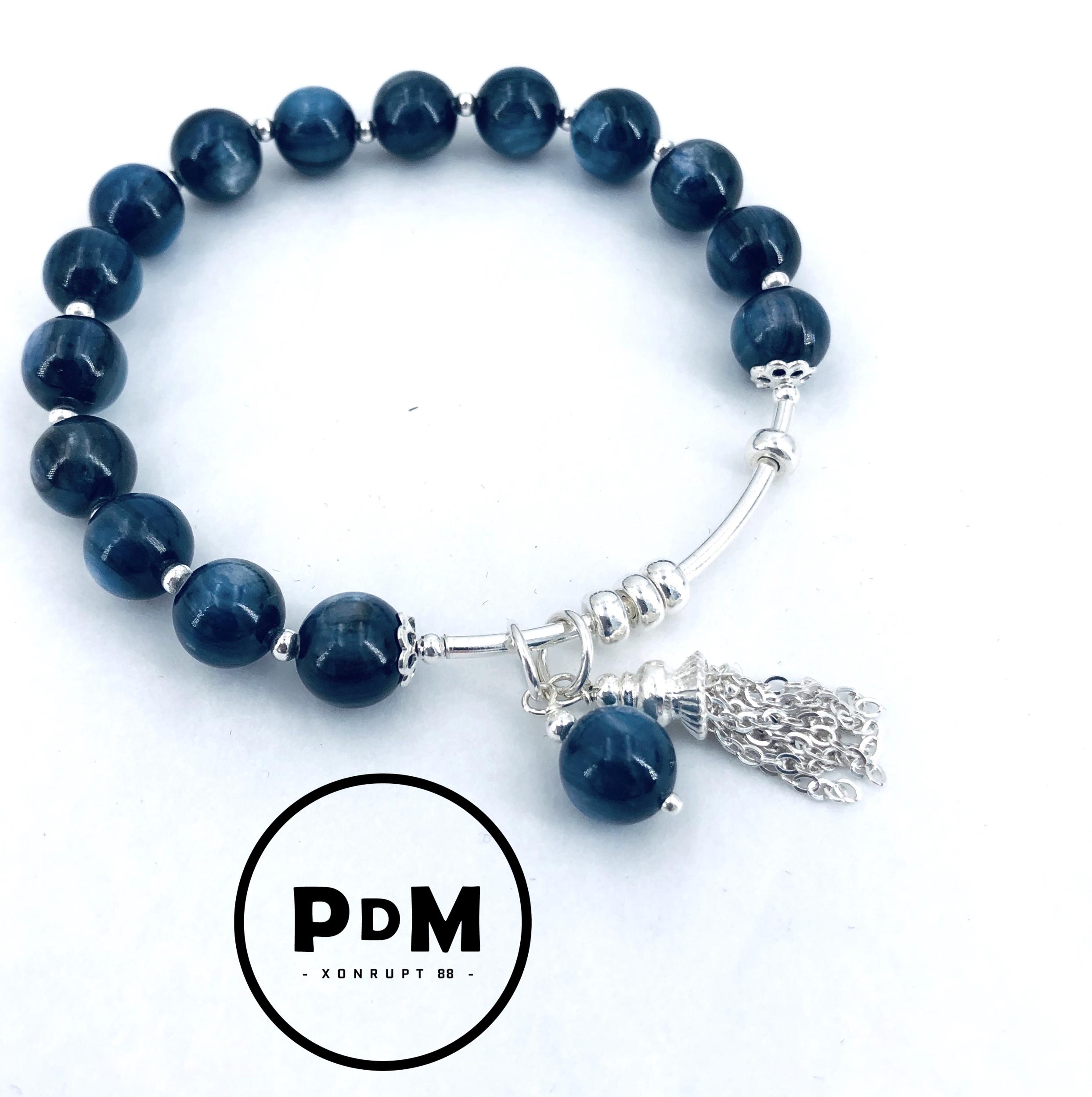 Bracelet en pierre naturelle de Cyanite en perles de 8mm et argent
