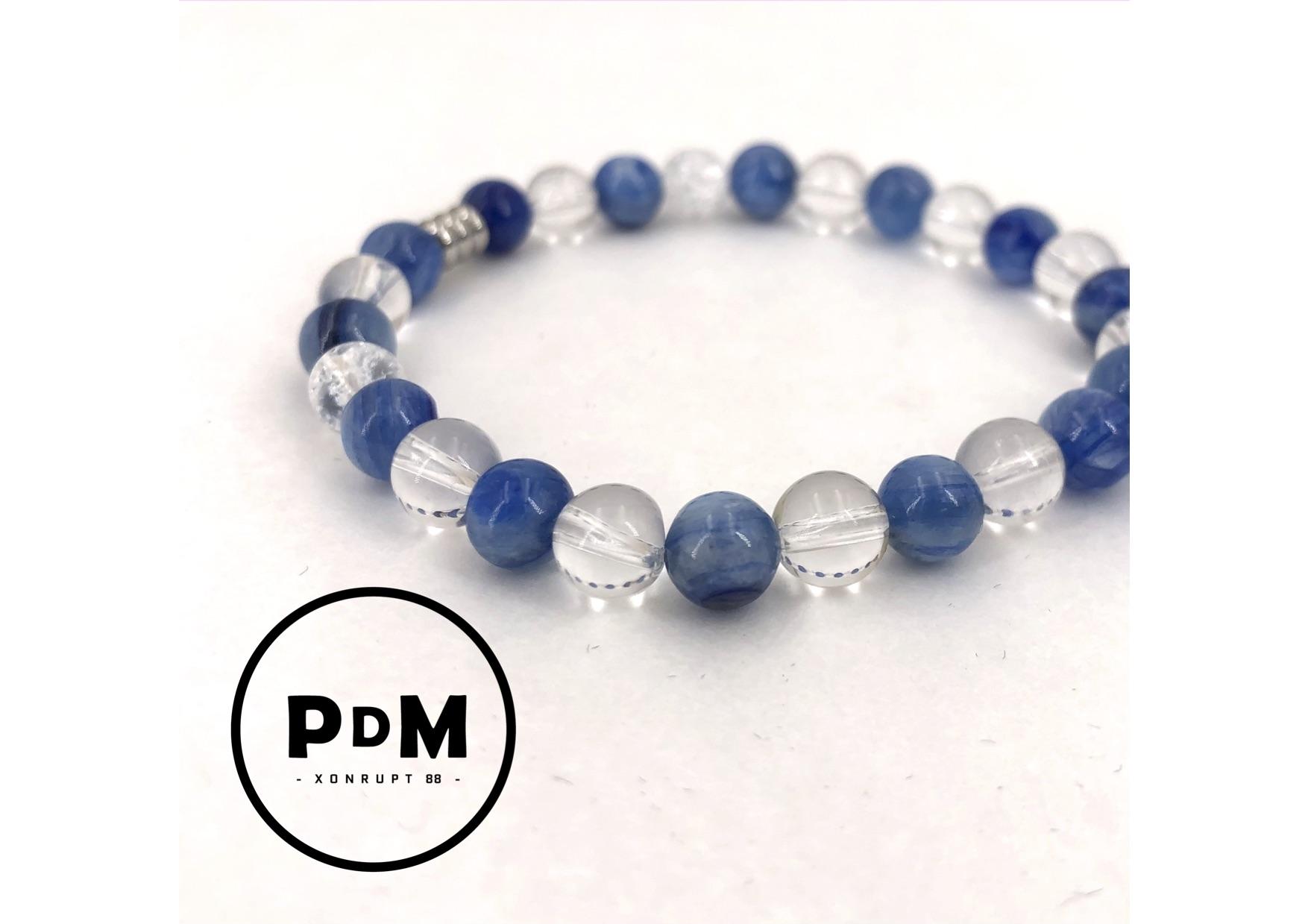 Bracelet de Cyanite et Quartz blanc en pierre naturelle perle 6mm