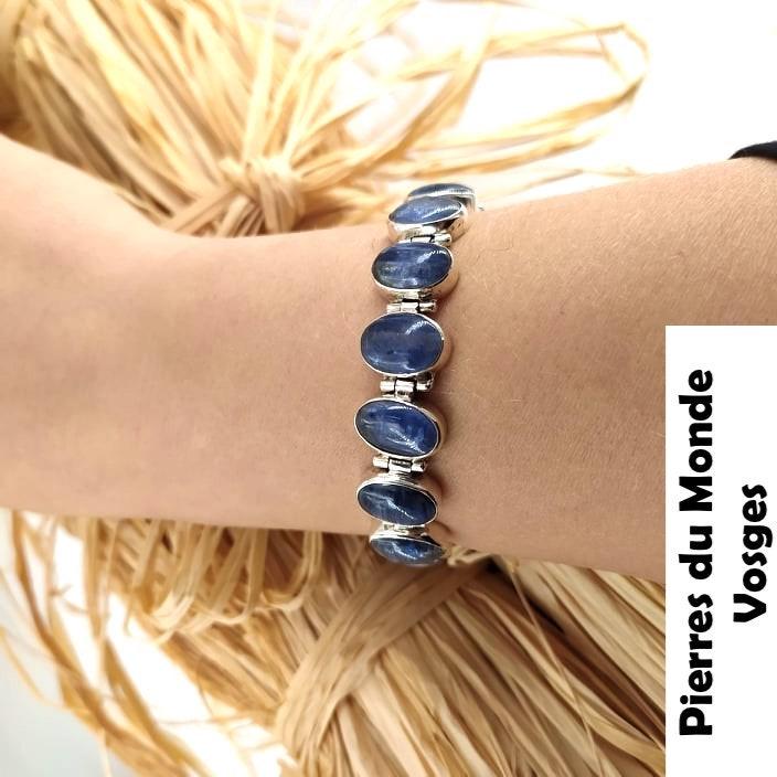 Bracelet en pierre naturelle de CYANITE monté sur support argent forme ovale