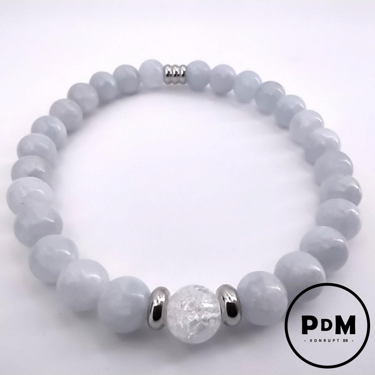 Bracelet Calcite bleue et quartz blanc craquelé en pierre naturelle perle 6 mm décor acier