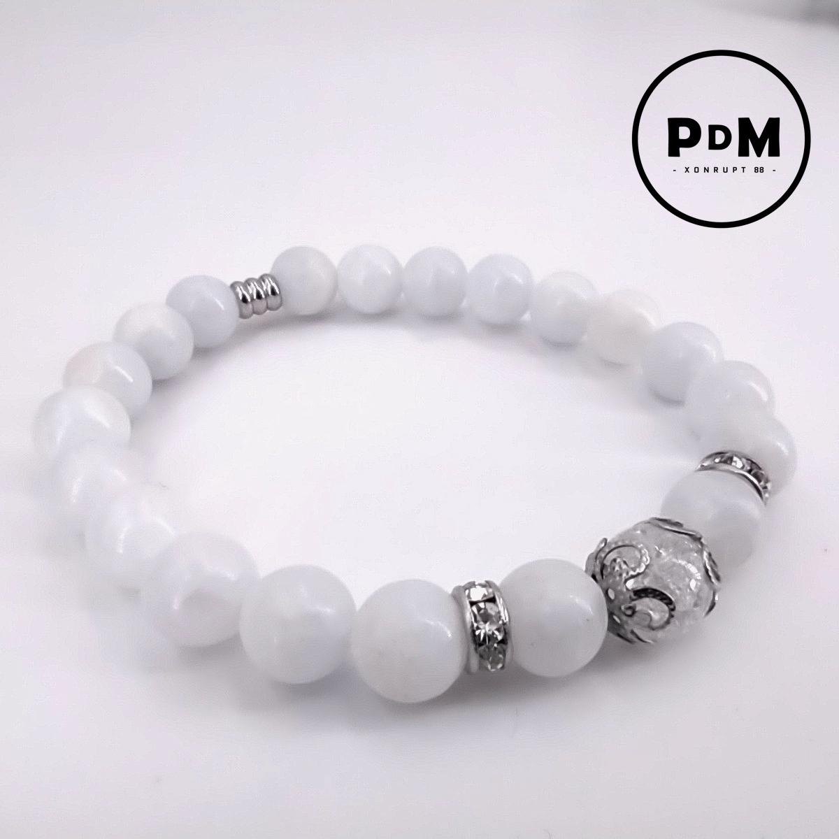 Bracelet Calcite bleue et Quartz blanc craquelé en pierre naturelle perle 8 mm strass acier
