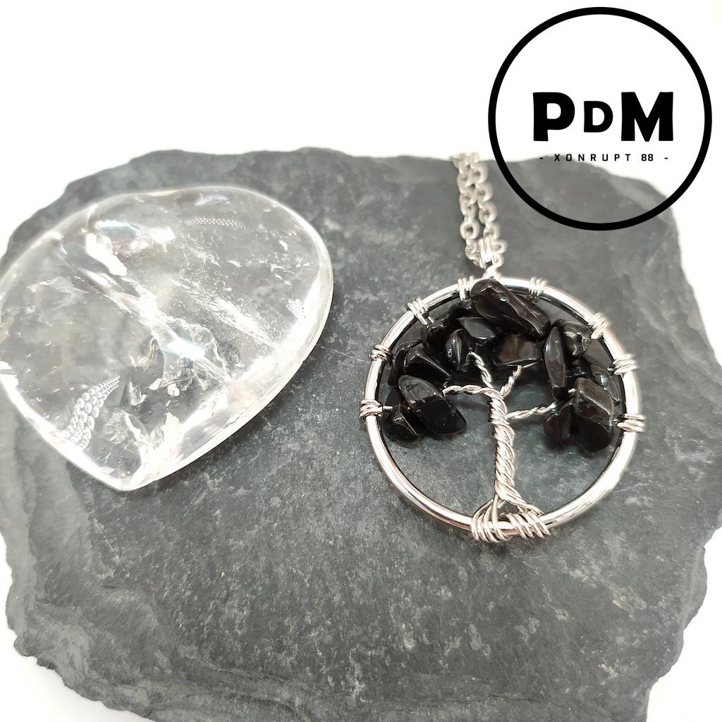 Pendentif arbre de vie Obsidienne larme d\'apache en pierre naturelle montage métal argenté