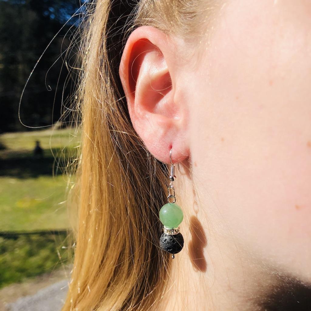 Boucles d\'oreilles lave - aventurine en pierre naturelle strass et montage acier