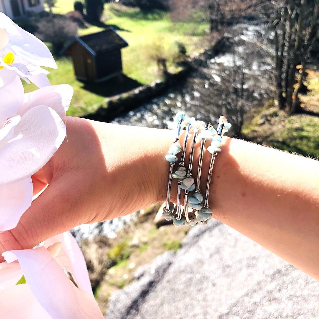 Bracelet Larimar en pierre naturelle spirale 5 tours montage métal argenté