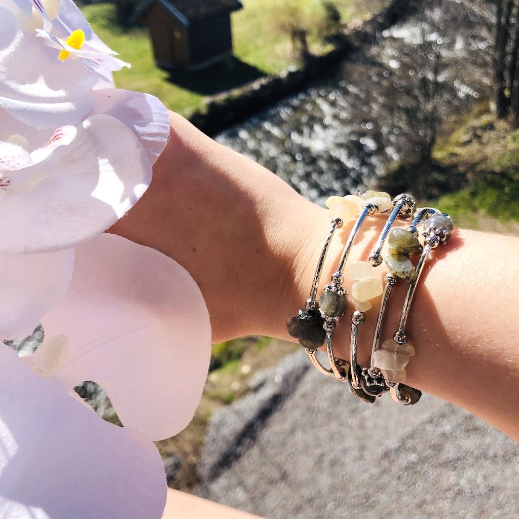 Bracelet Labradorite en pierre naturelle spirale 5 tours montage métal argenté