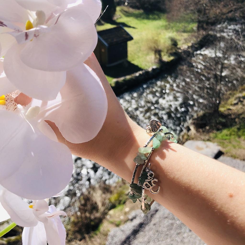 Bracelet Aventurine en pierre naturelle spirale 3 tours montage métal argenté décor coeur et home