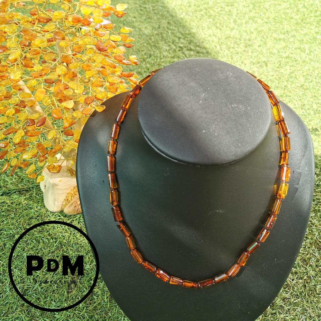 Collier Ambre en pierre naturelle perles tubes en ambre couleur miel