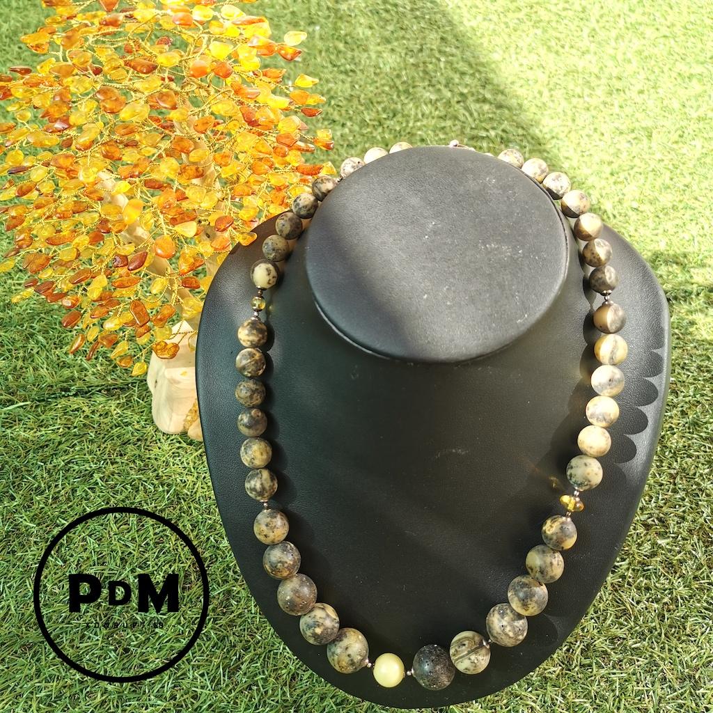 Collier Ambre en pierre naturelle perles rondes en Ambre brut