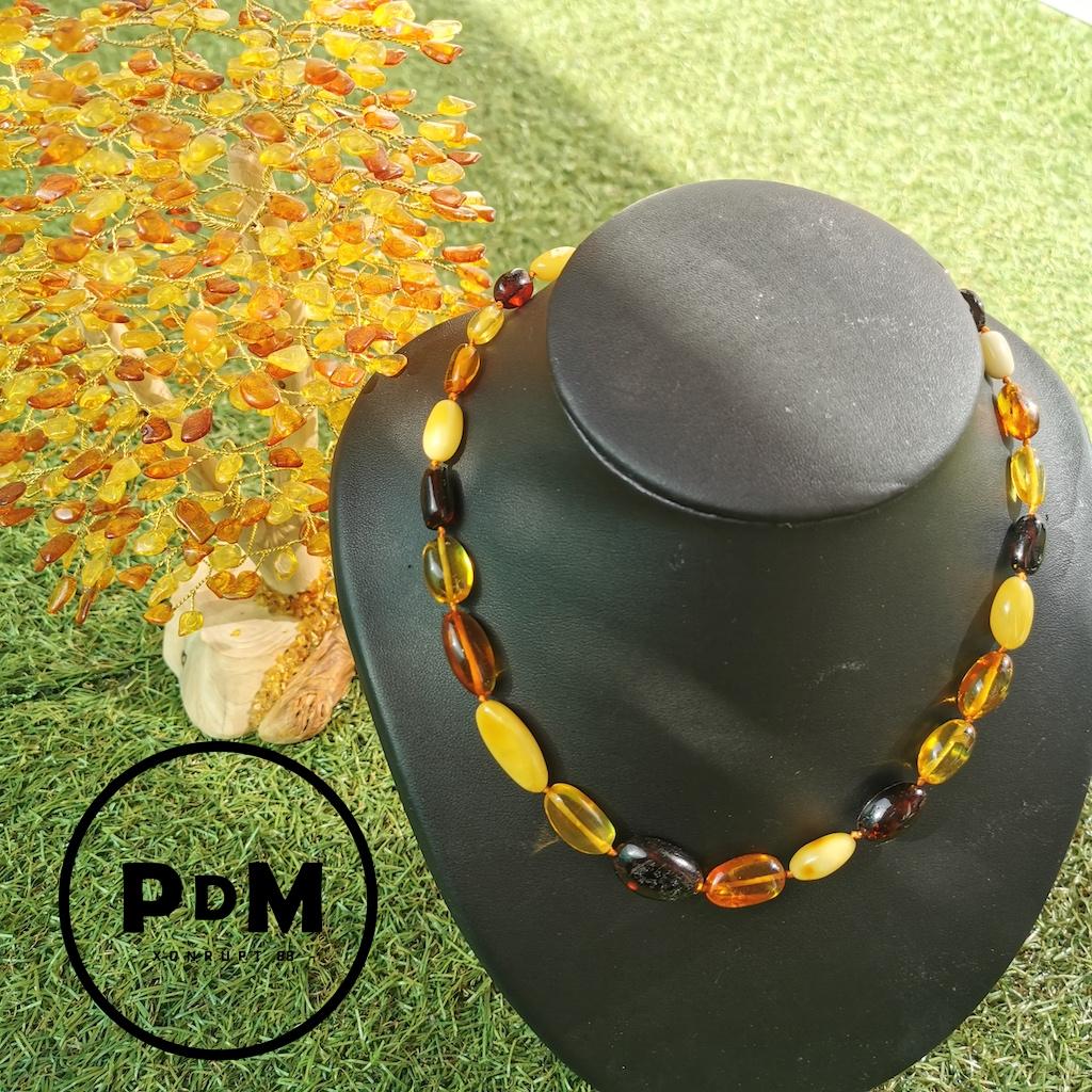 Collier Ambre en pierre naturelle perles ovales en 3 couleurs