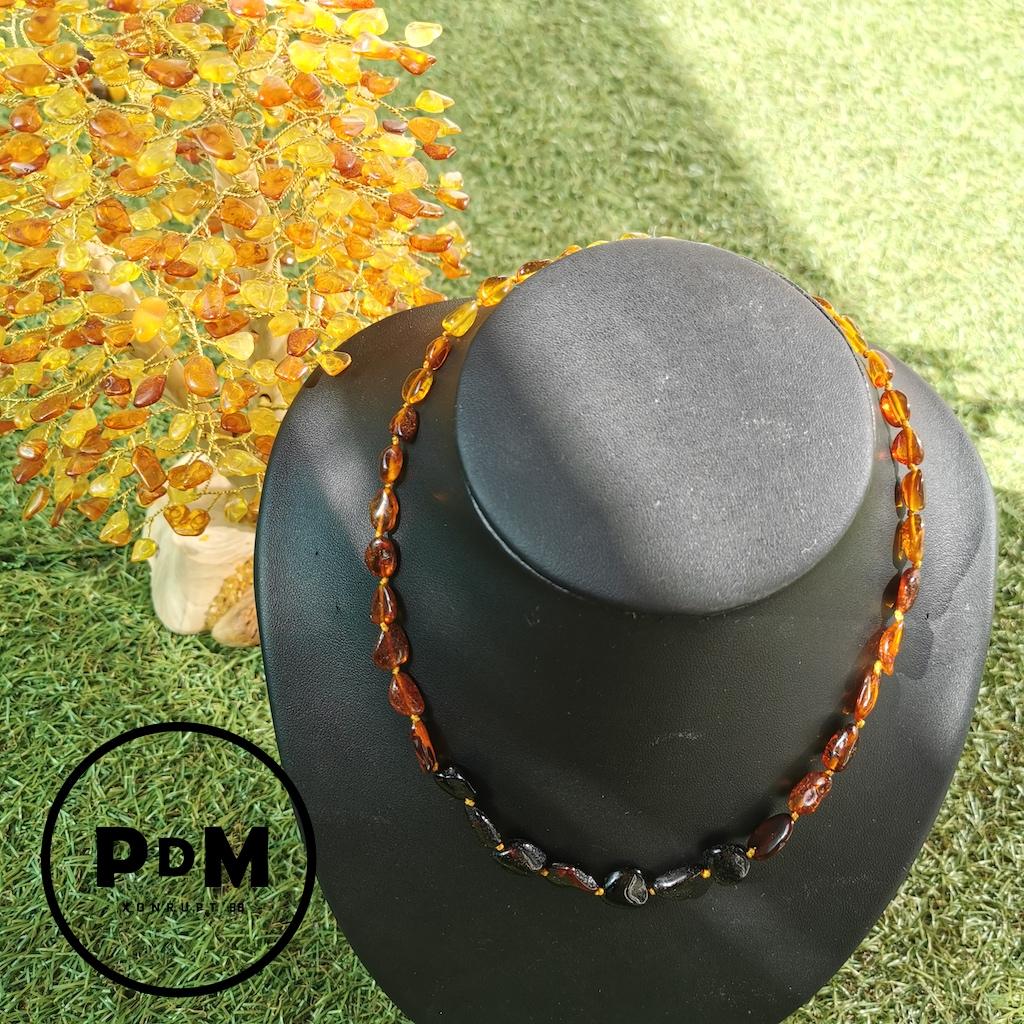 Collier Ambre en pierre naturelle perles forme libre en 3 couleurs