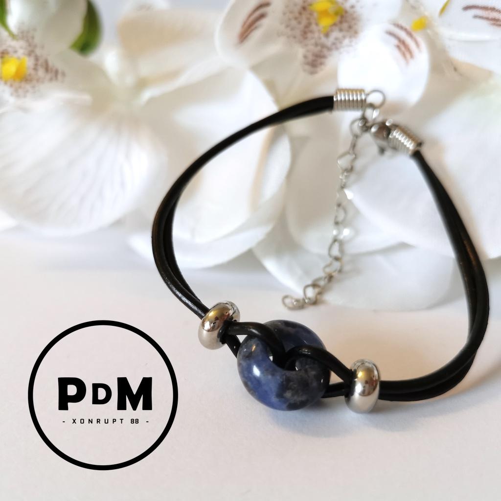Bracelet Sodalite en pierre naturelle et cuir