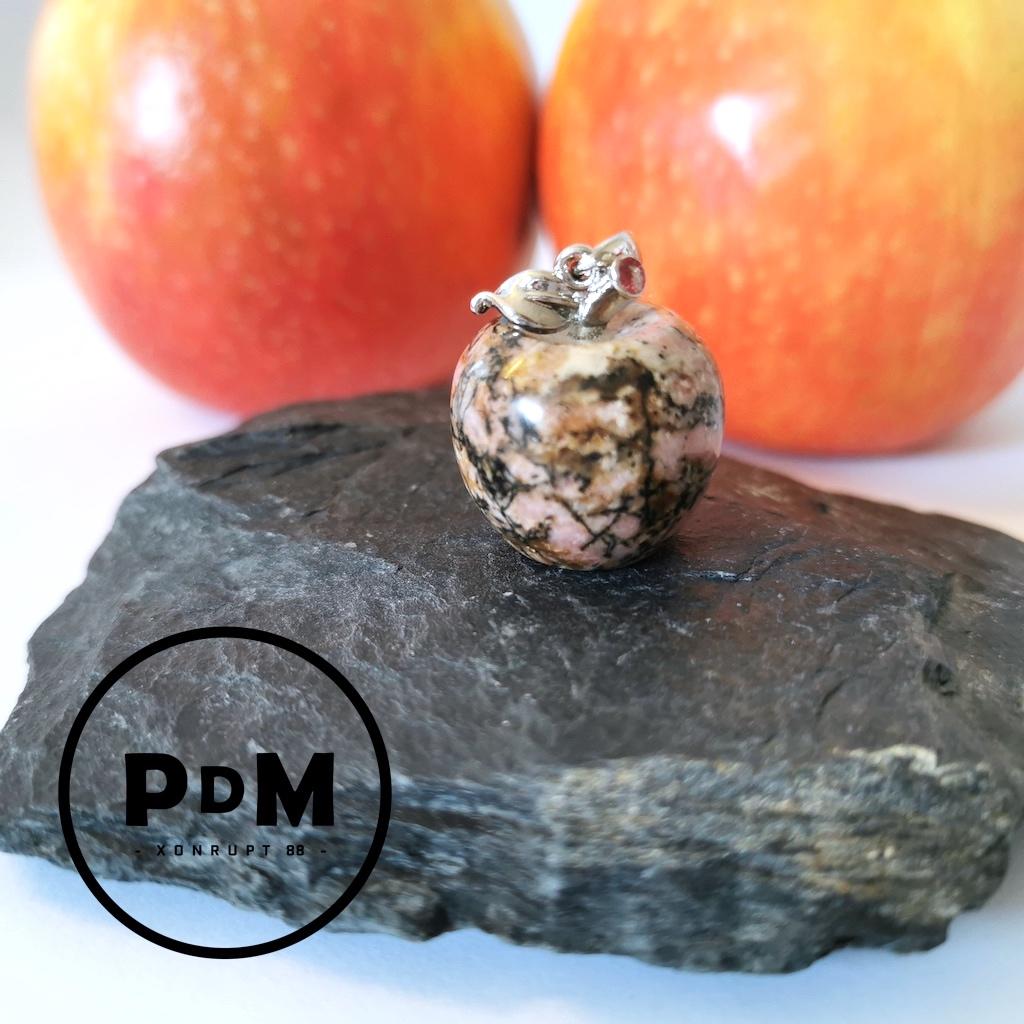 Pendentif Rhodonite en pierre naturelle forme pomme