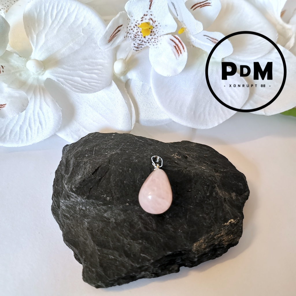 Pendentif Quartz rose en pierre naturelle forme poire