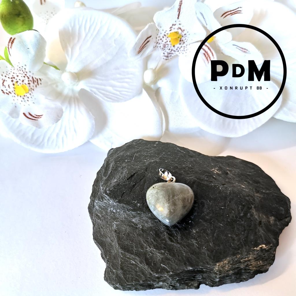 Pendentif Labradorite en pierre naturelle forme coeur