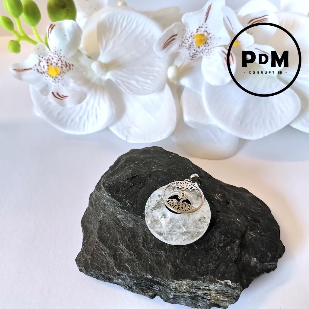 Pendentif Cristal de roche en pierre naturelle forme donuts et support arbre de vie