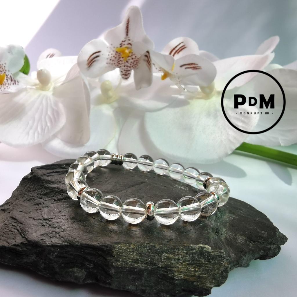 Bracelet enfant Cristal de roche en pierre naturelle perle 6 mm décor acier