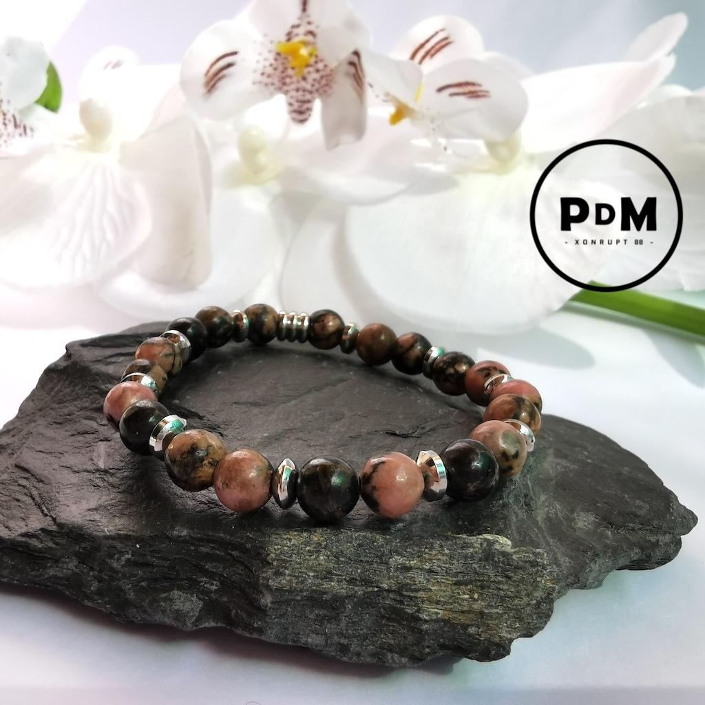 Bracelet enfant Rhodonite en pierre naturelle perle 6mm décor et tube acier