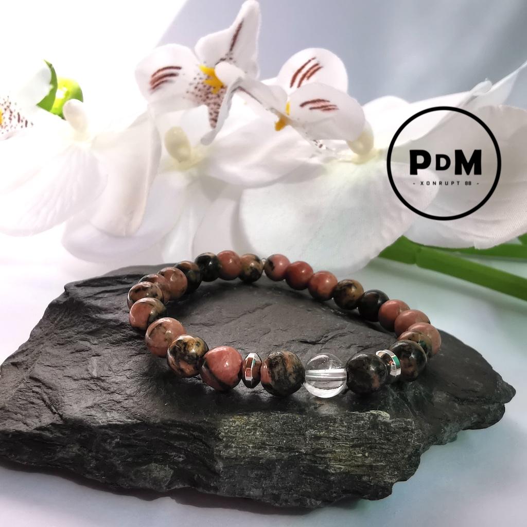 Bracelet enfant Rhodonite et Quartz blanc en pierre naturelle perle 6 mm décor acier