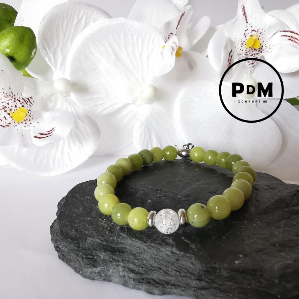Bracelet enfant Péridot et Quartz blanc craquelé en pierre naturelle perle 6 mm décor acier