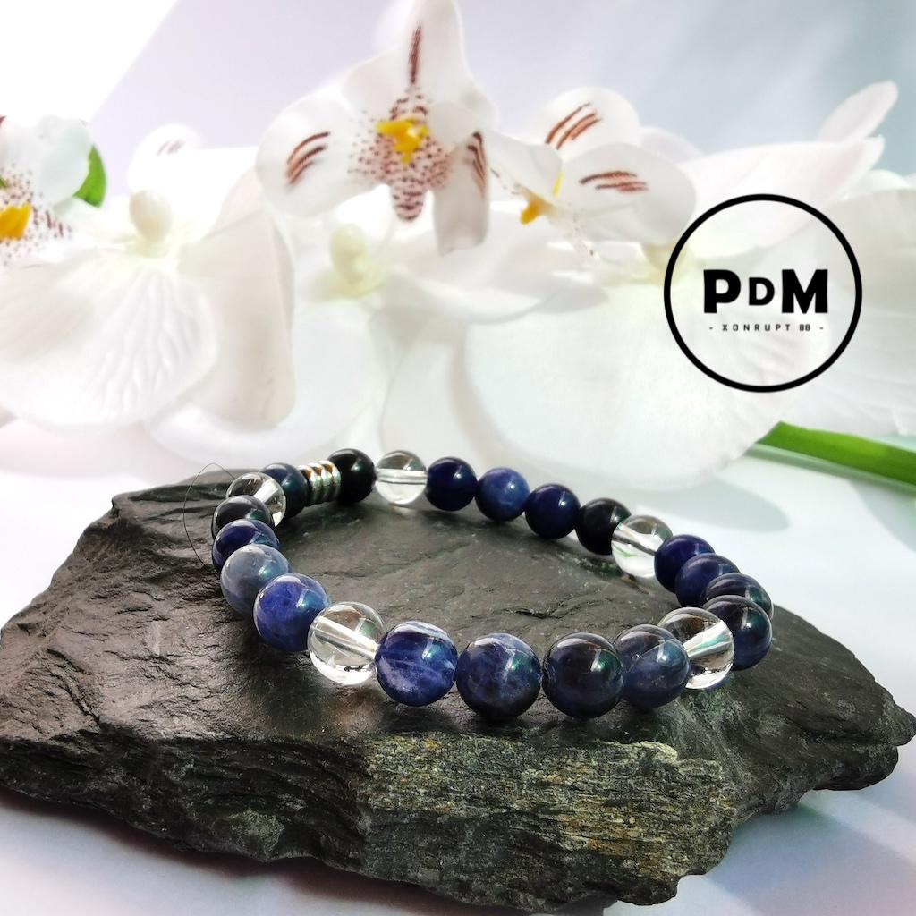 Bracelet enfant Sodalite et Quartz blanc en pierre naturelle perle 6 mm décor acier