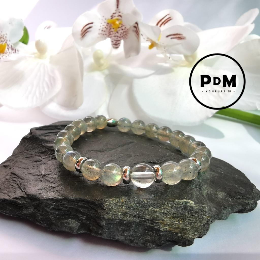 Bracelet enfant Labradorite et Quartz blanc en pierre naturelle perle 6 mm décor et tube acier