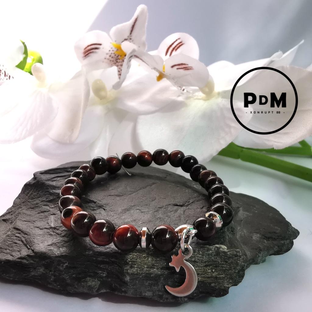 Bracelet enfant Oeil de taureau en pierre naturelle perle 6 mm décor et tube acier