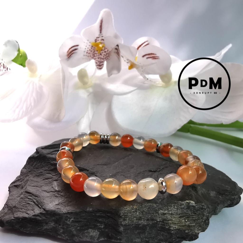 Bracelet enfant Cornaline en pierre naturelle perle 6 mm décor et tube acier