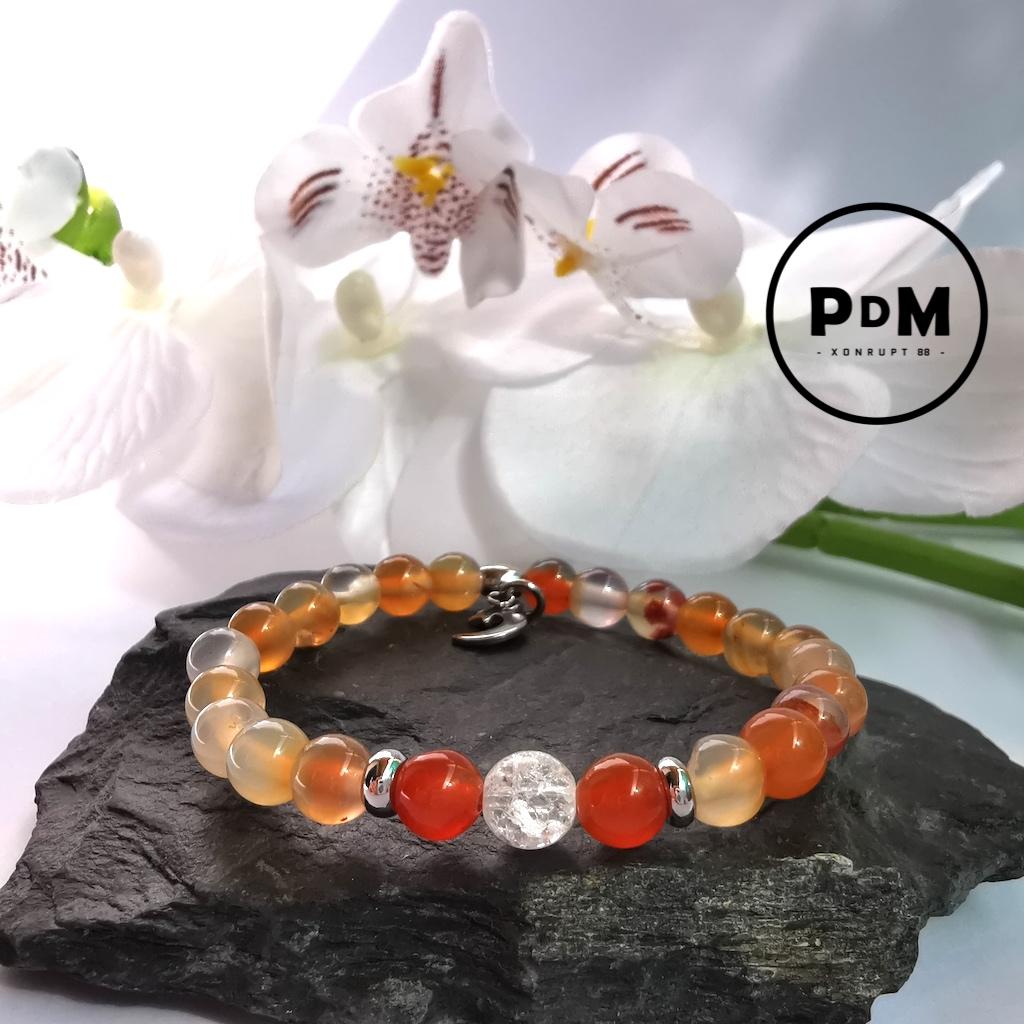 Bracelet enfant Cornaline et Quartz blanc craquelé en pierre naturelle perle 6 mm décor acier