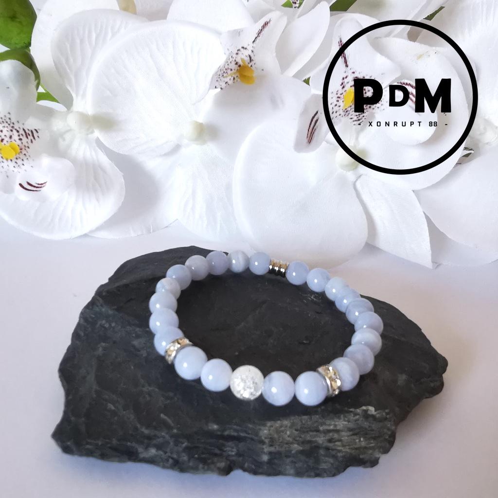 Bracelet enfant Calcédoine et Quartz blanc craquelé en pierre naturelle perle 6 mm strass et tube acier