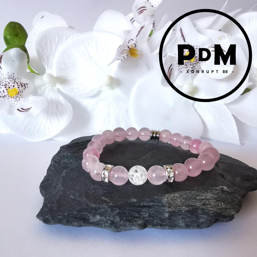 Bracelet enfant Quartz rose et Quartz blanc craquelé en pierre naturelle perle 6 mm strass et tube acier