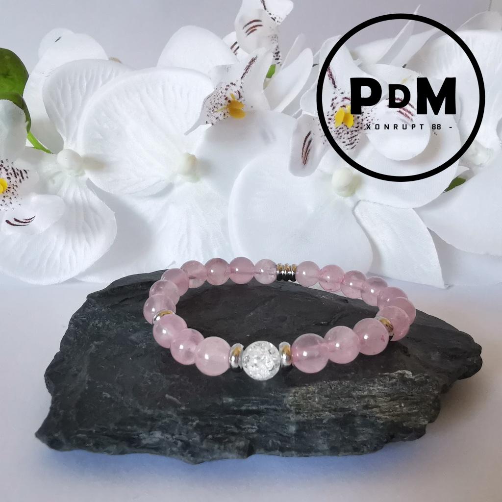 Bracelet enfant Quartz rose et Quartz blanc craquelé en pierre naturelle perle 6 mm décor et tube acier