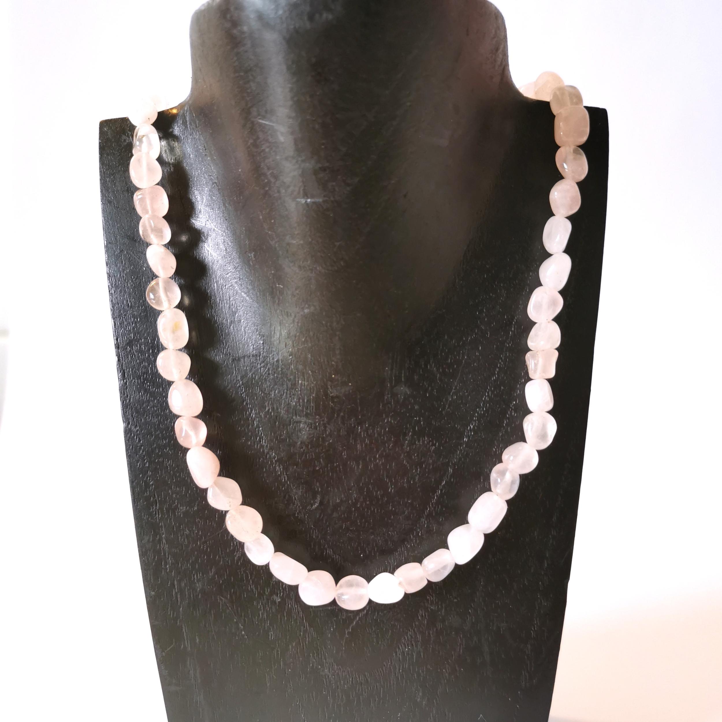 Collier Quartz rose en pierre naturelle perle de forme libre montage acier