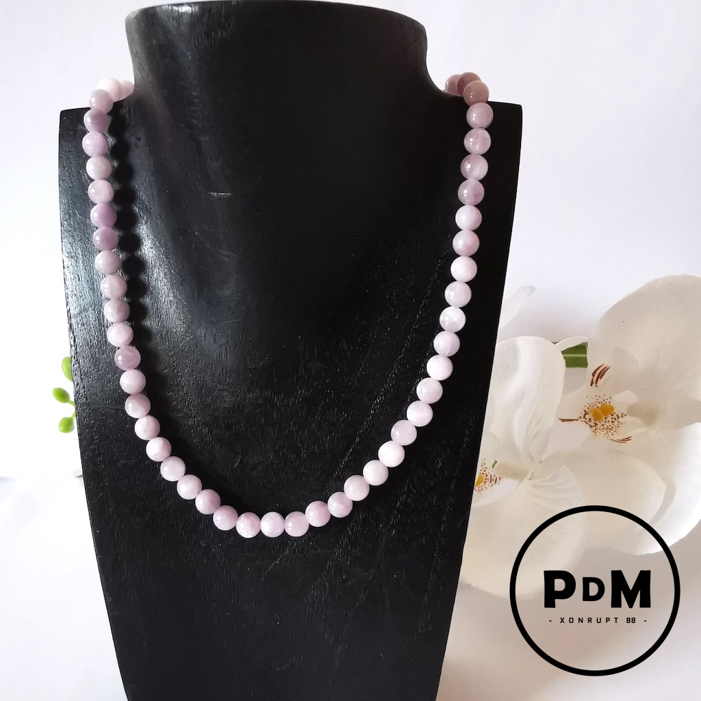 Collier Kunzite en pierre naturelle perle ronde 6mm