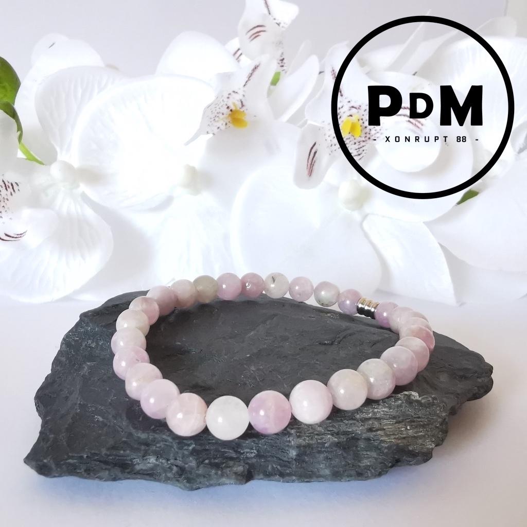 Bracelet Kunzite en pierre naturelle perle ronde 6mm et tube acier