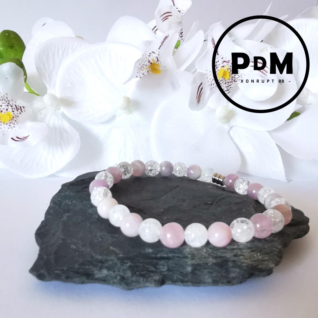 Bracelet Kunzite et Quartz craquelé en pierre naturelle perle 6mm et tube acier