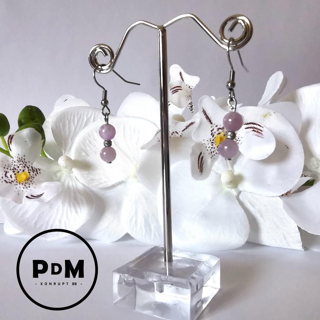 Boucles d\'oreilles kunzite en pierre naturelle avec perle et montage acier