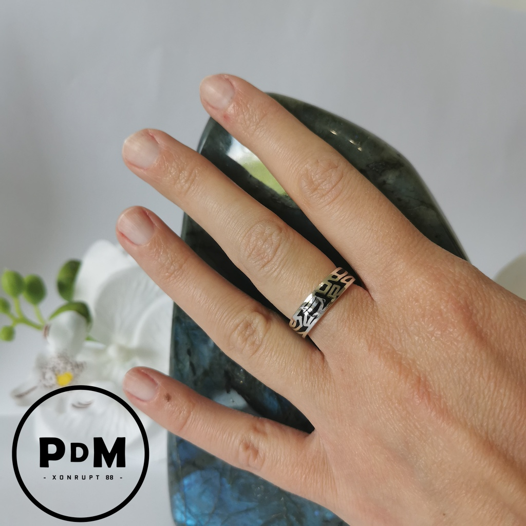 Bague anneau argent motif art abstrait