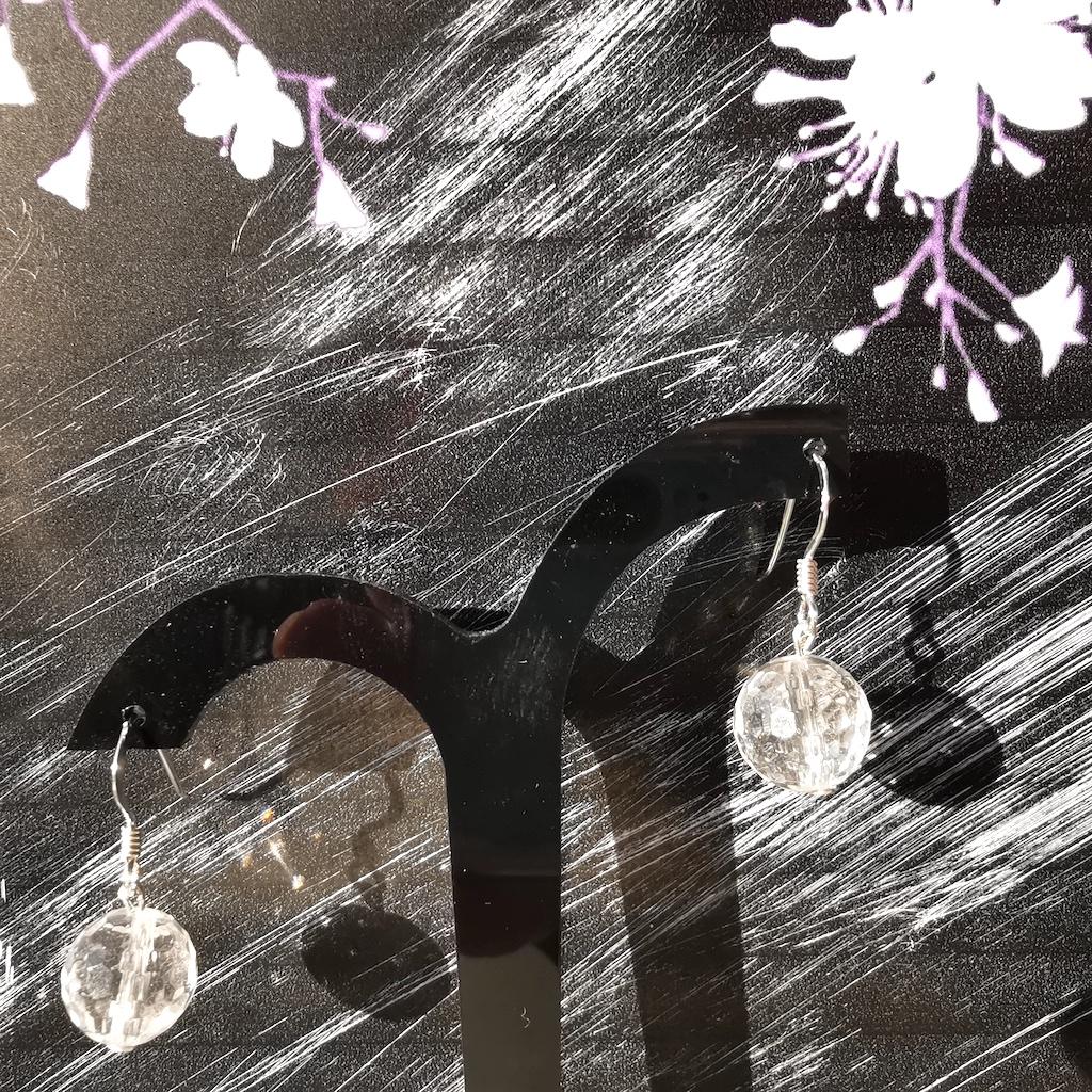 Boucles d\'oreilles Quartz blanc en pierre naturelle perle ronde facette montage argent