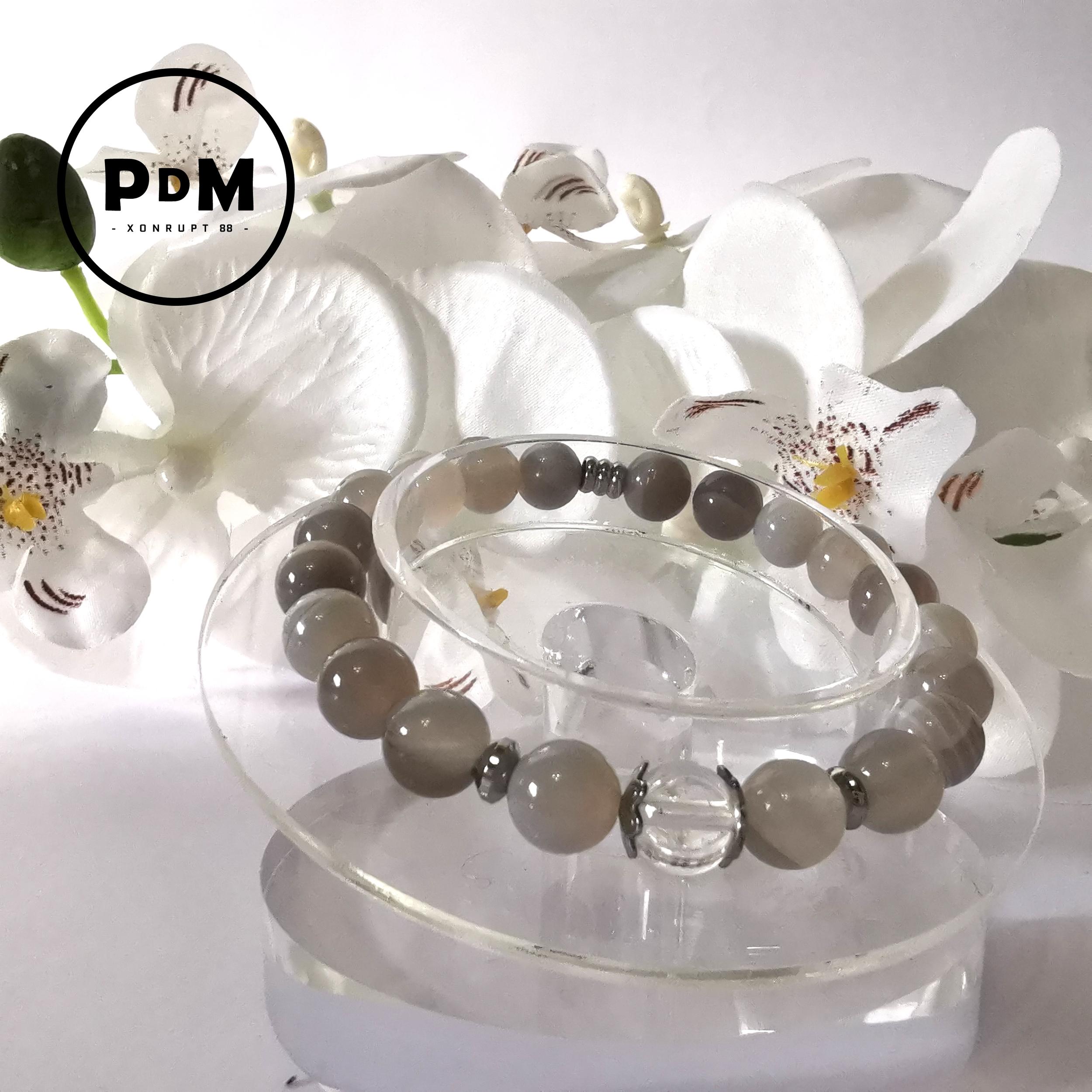 Bracelet Agate naturelle boule 8 mm avec perle quartz et décor acier