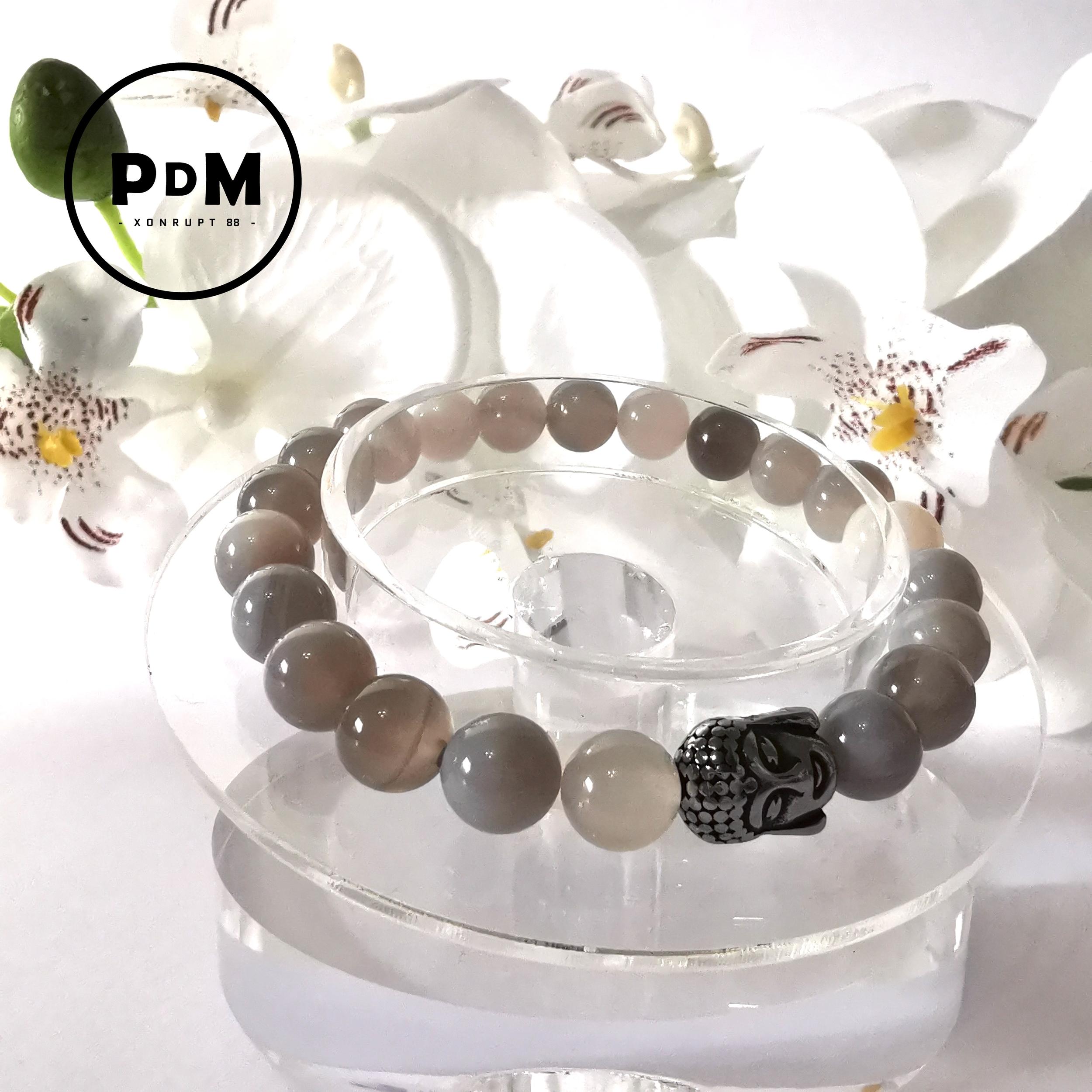 Bracelet Agate naturelle boule 8 mm avec tête de bouddha