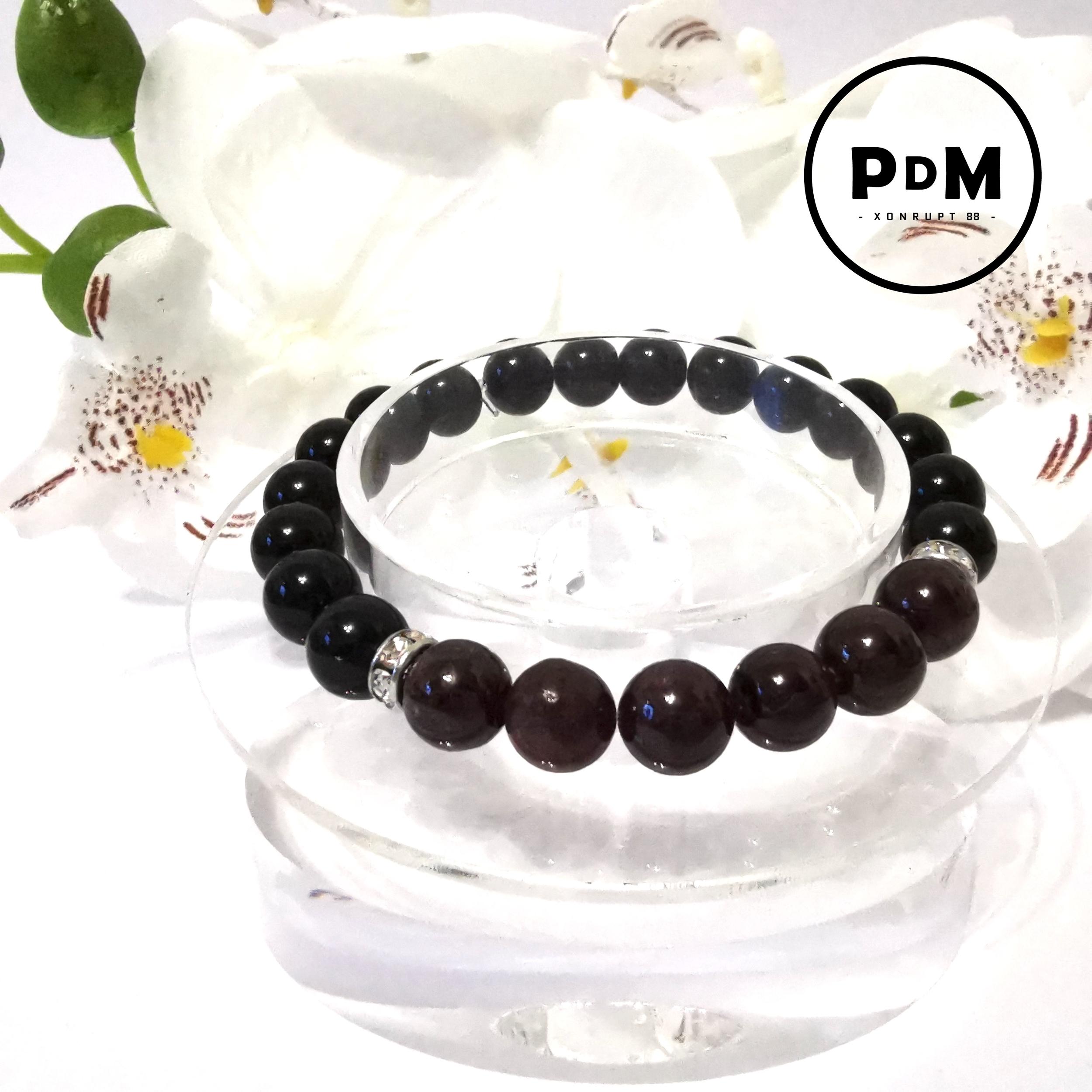 Bracelet Astro Bélier Agate noire et Grenat en pierre naturelle avec strass acier