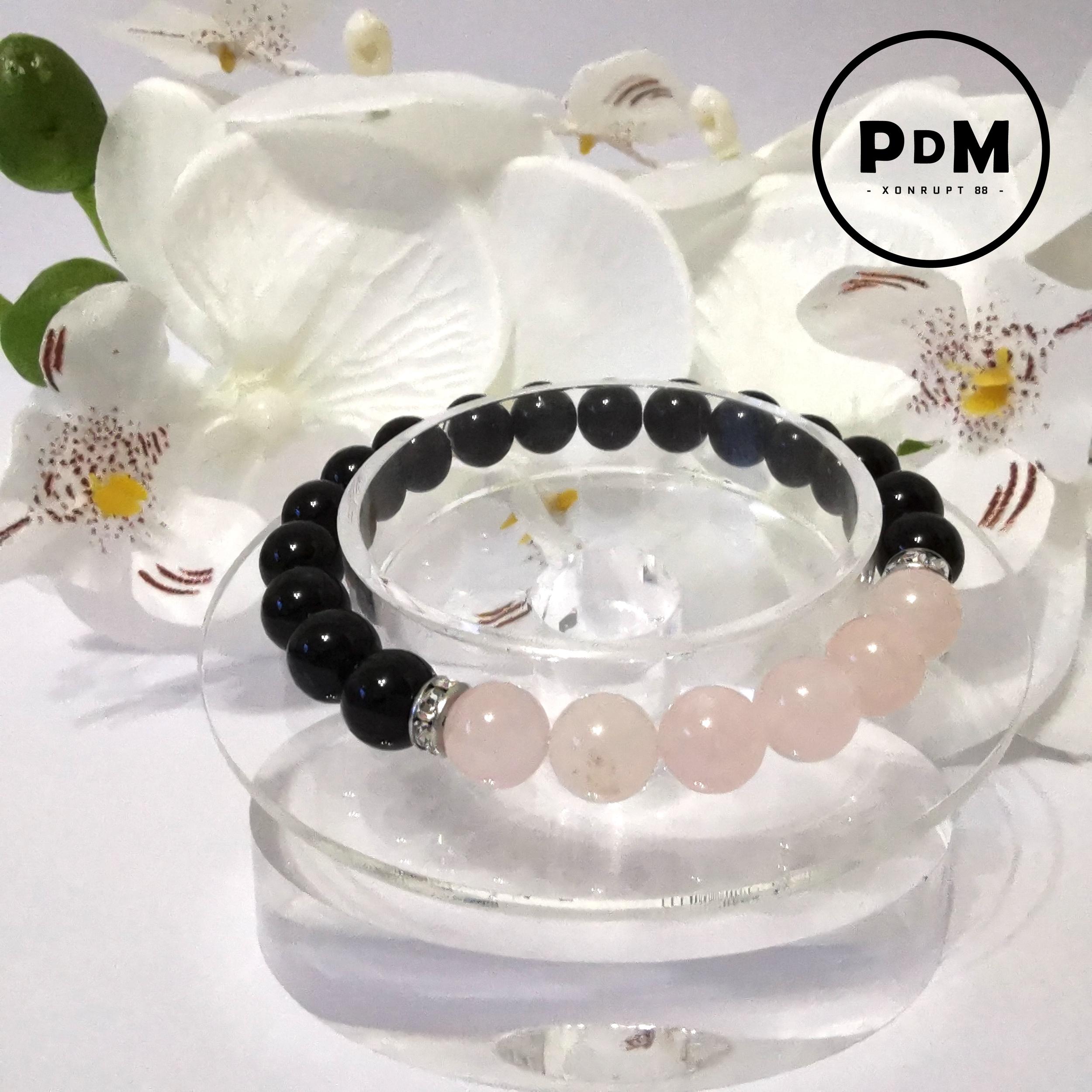 Bracelet Astro Taureau Agate noire et Quartz rose en pierre naturelle avec strass acier
