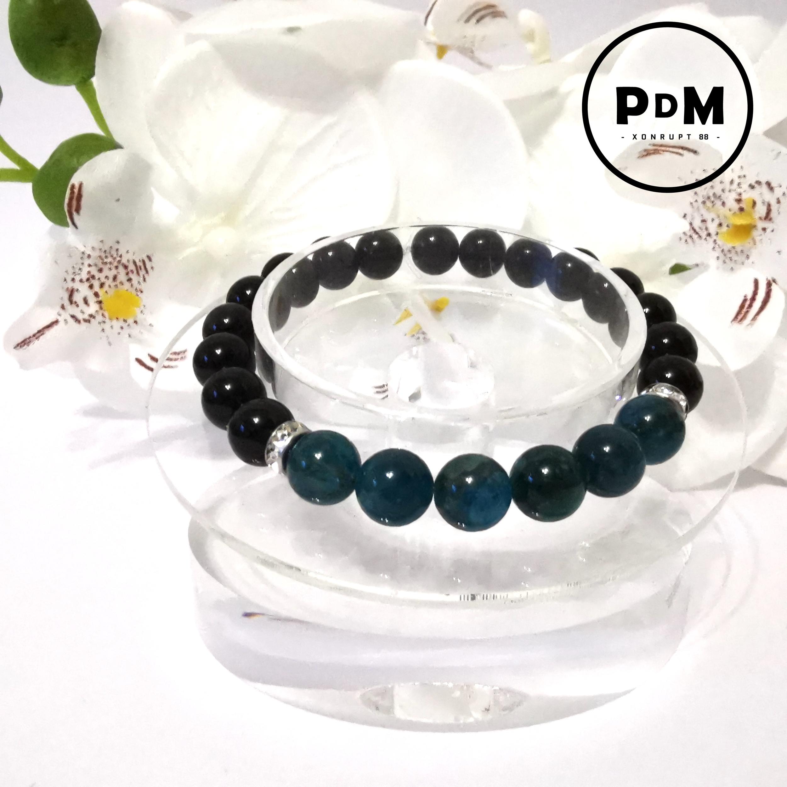 Bracelet Astro Gémeaux Agate noire et Apatite en pierre naturelle avec strass acier