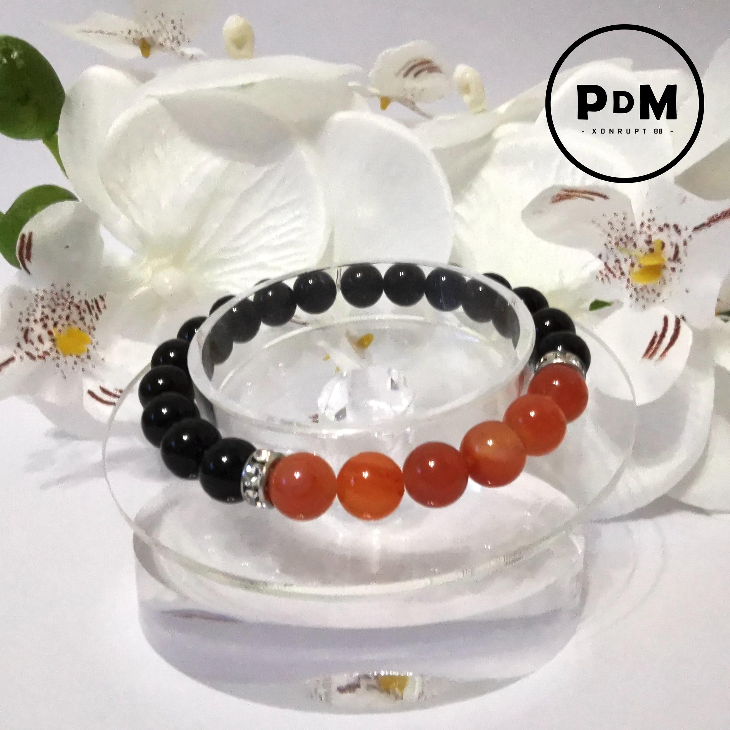 Bracelet Astro Lion Agate noire et Cornaline en pierre naturelle avec strass acier
