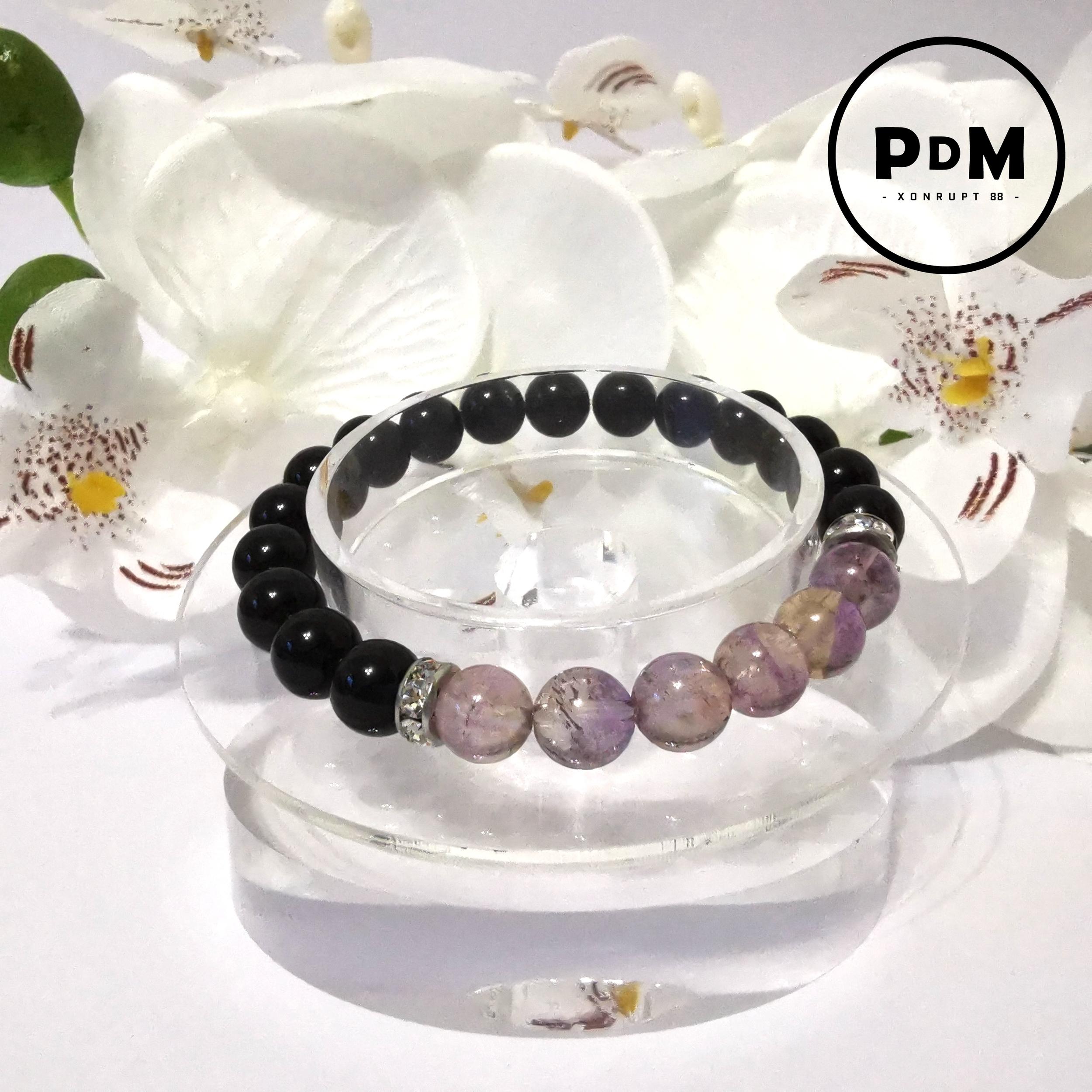 Bracelet Astro Balance Agate noire et Amétrine en pierre naturelle avec strass acier