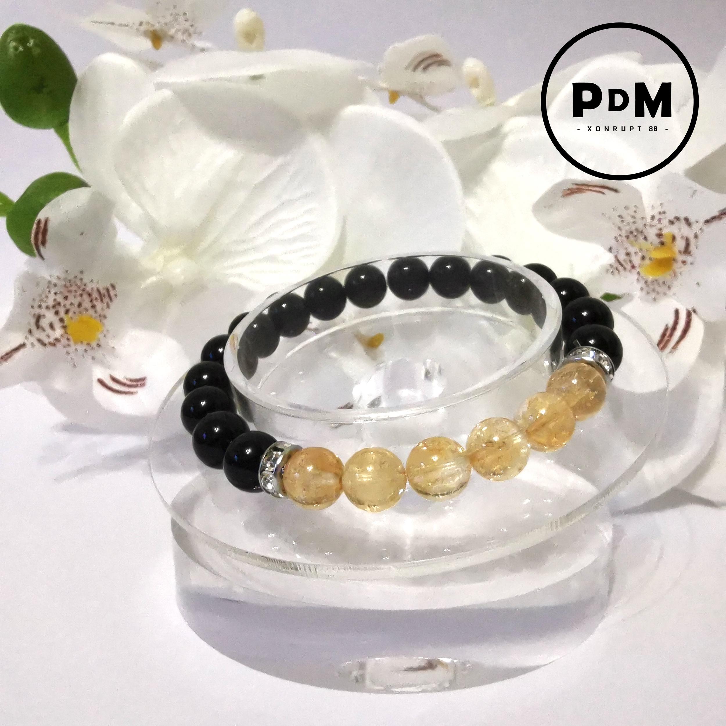 Bracelet Astro Scorpion Agate noire et Citrine en pierre naturelle avec strass acier
